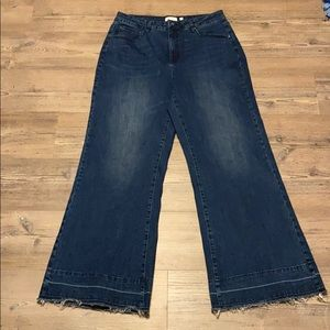 A Loves A Raw Hem Flared Dark Wash Jeans 32
